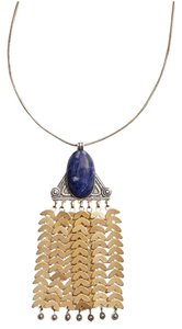 Tory Burch Tory Burch Stone Pendant Tassle Fringe Gold Long Necklace Tags Dust Bag!