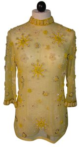 Vintage Sheer Beaded Top Yellow