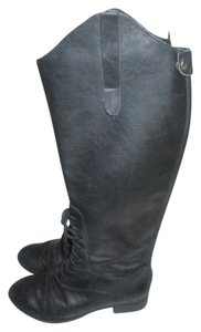 Joie Zippered Leather Laced Up Caviar Riding Black Boots