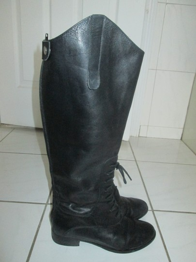 Joie Laced Riding Zippered Black Boots