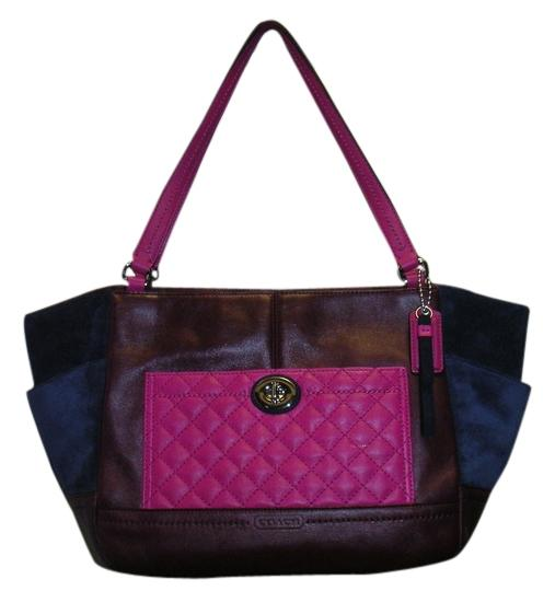 Preload https://img-static.tradesy.com/item/1425324/coach-burgundy-pink-quilted-leather-and-dark-blue-suede-f24693-multicolor-leathersuede-tote-0-0-540-540.jpg
