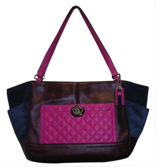 Coach Burgundy Pink Quilted Leather and Dark Blue Suede F24693 Multicolor Leather+suede Tote Coach Burgundy Pink Quilted Leather and Dark Blue Suede F24693 Multicolor Leather+suede Tote Image 1