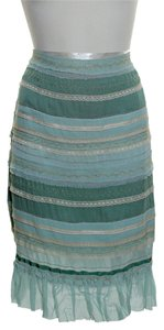 Odille Lace Trim Tiered Skirt Green