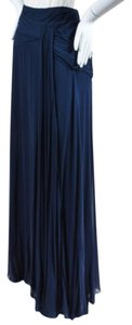 Ralph Lauren Label Navy Silk Ruched Full Maxi Skirt Blue
