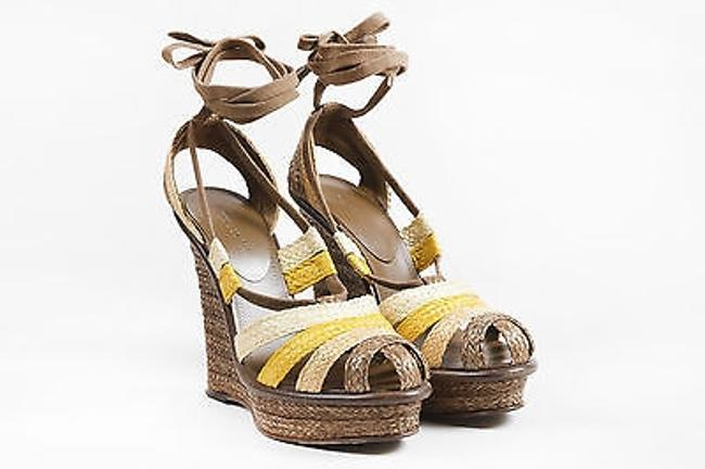 Item - Brown Yellow Multicolor Platform Wedge Lace Up Sandals