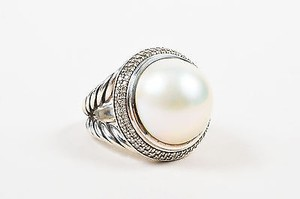 David Yurman David Yurman Sterling Silver Pearl Pave Diamond Cerise Double Cable Ring