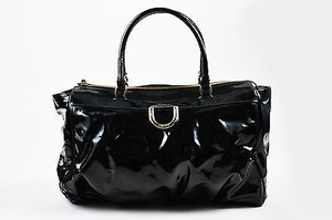 Gucci Patent Gold D Ring Zip Top Tote in Black