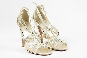 Chanel Light Leather Gold Sandals