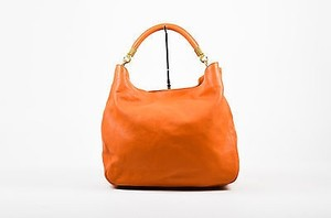 Saint Laurent Yves Leather Roady Tote in Orange
