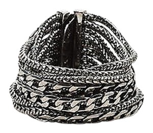 Dominique Aurientis Dominique Aurientis Dark Silver Tone Multi Strand Wide Chain Bracelet