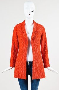 Chanel Boutique Pink Wool Silk Tweed Open Front Cc Button Long Ls Red Jacket