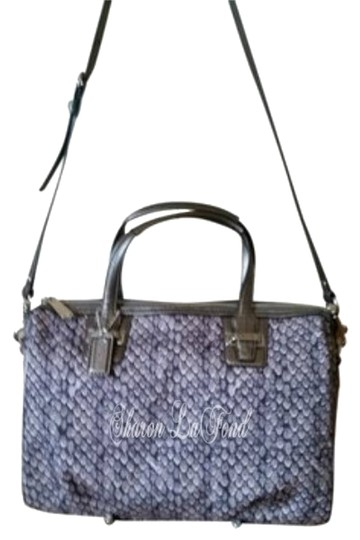 Coach Taylor Snake Print Crossbody Leather Long Strap Pockets Satchel in gunmetal