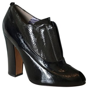 Moschino Blk Drk Gry Patent Leather Boots