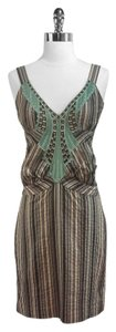 Nicole Miller short dress Green/Brown/Beige Striped on Tradesy