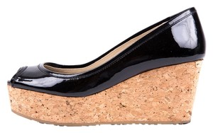 Jimmy Choo Black & Cork Wedges
