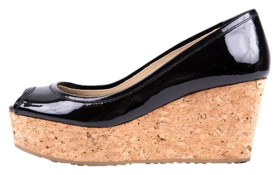 Jimmy Choo Black & Cork Wedges Patent Peeptoe Wedges Cork bfa241
