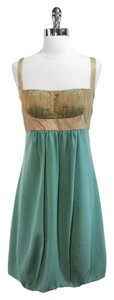 Nicole Miller short dress Teal/Gold Silk on Tradesy