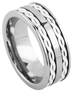 Island Silversmith Island Silversmith 8mm Tungsten Carbide Wedding Band Ring w Double .925 Silver Cables 2301D *FREE SHIPPING*