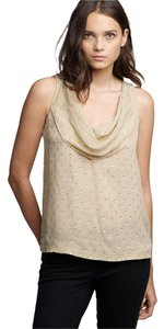 J.Crew Drapeneck Gold Metallic Silk Top Beige