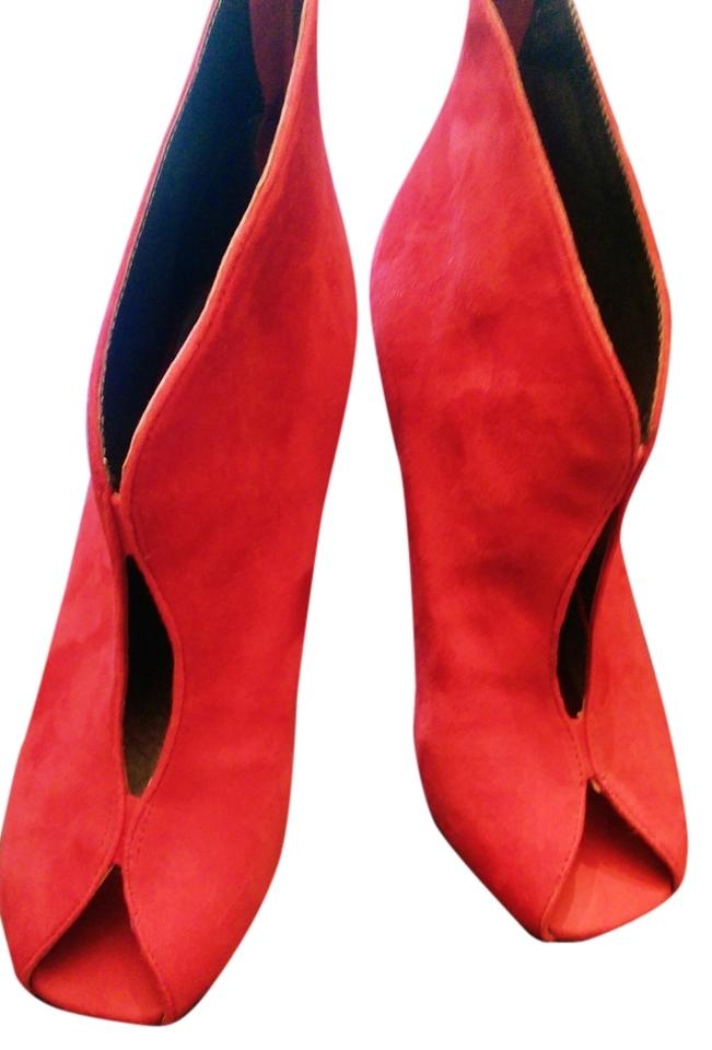Jeffrey Campbell Bright Toe Red Suede Wood Open Toe Bright Vintage Boots/Booties eb920b