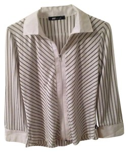 HKR Collections Montreal Retailer Button Down Shirt White Gray Pinstripe