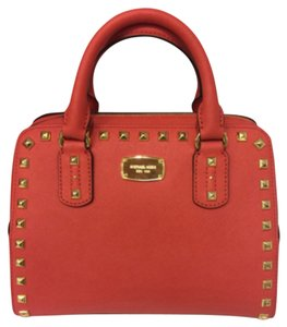 Michael Kors Small Studded Handbag Satchel in Watermelon