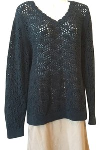 Ann Taylor LOFT Cotton Crocheted Black Sweater