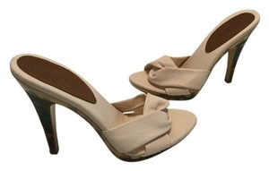 Isabella Fiore Italian All Leather Painted Heels Cream Mules