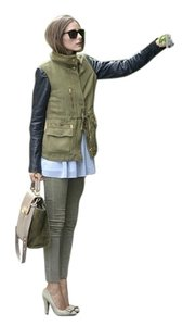 Mossimo Supply Co. Faux Leather Quilted Grunge Military Jacket