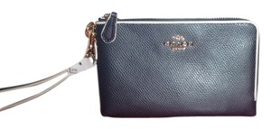 Coach Coach F65755 Pebbled Leather Wallet/Wristlet Midnight/Chalk