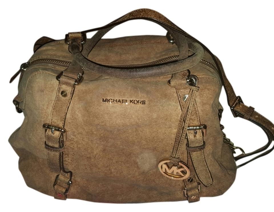 d7bb460f572c Michael Kors Bedford Ostrich-embossed Bowling Satchel Brown Ostrich ...