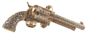 Chanel GUN RING - 2014 - US 7 - 54 - CRYSTAL GOLD CC PISTOL CHARM RHINESTONE