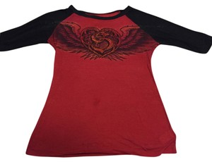 Sinful by Affliction T Shirt red & black with rhinestone details