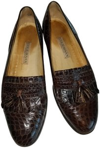 Cole Haan Loafer Slipper Kiltie Tassle Brown Alligator Flats