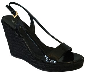 Prada Wedge Black Patent Espadrille Wedges