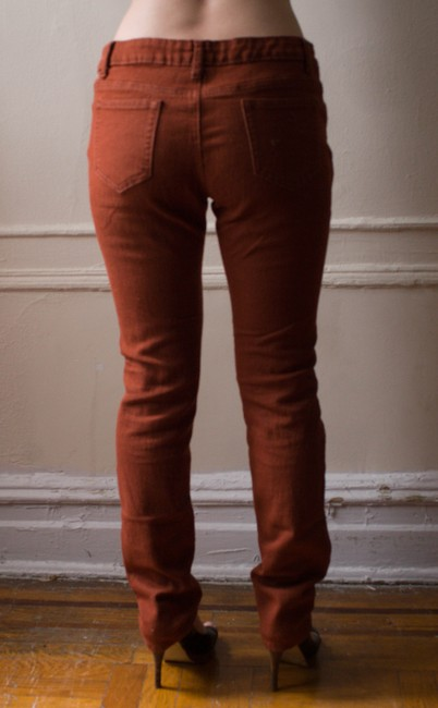 Buzz Jeans Vintage 1990s 90s Colored Rust Orange Brown Spring Winter Fall Earthtone Earthtones Hipster Boho Neutral Straight Leg Jeans-Medium Wash
