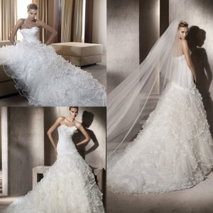 Pronovias Mermaid Fantastica Lace 3d Ruffles Wedding Dress