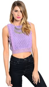Other Crop Lace Tassels Top Lavender Purple
