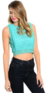 Other Crop Lace Tassels Top Dark Mint