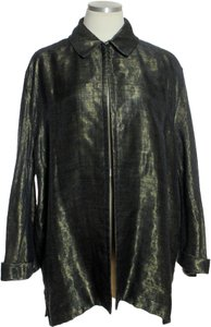 Carmen Marc Valvo Wool Blend Iridiscent One Button Long Sleeve Bronze Jacket