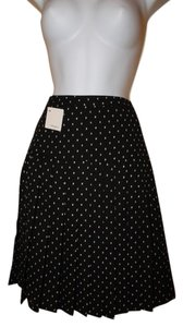 Halogen Pleated Polka Dot Fully Lined Skirt Black with white detail