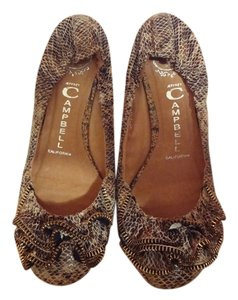 Jeffrey Campbell Brown Snake Print Flats
