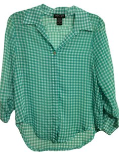 About A Girl Checkered Polyester Sheer Button Down Shirt Green/White