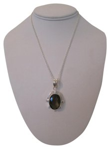 Handmade ARTISAN FACETED SMOKY QUARTZ GLASS PENDANT NECKLACE