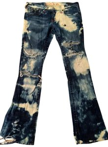 plastic by gly Bleach Out Flap Pockets Boot Cut Jeans-Distressed