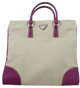Prada Tote in Beige & Raspberry