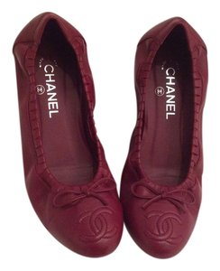 Chanel Ballerines Classic Bow Red Flats