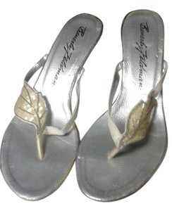 Beverly Feldman cream and silver Mules