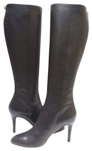 Jimmy Choo Grainy Calf Knee High Leather Black Boots