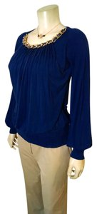 Sky P949 Long Sleeves Chain Top blue, gold